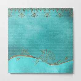 Gold and Turquoise Pattern Metal Print