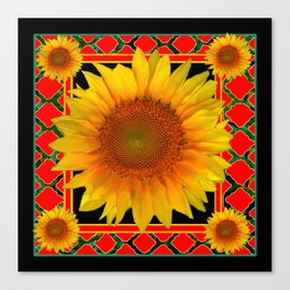 RED-TEAL BLACK  DECO YELLOW SUNFLOWERS Canvas Print