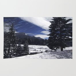 Star Trails in Mount Rainier National Park Rug