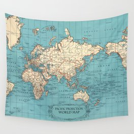 Pacific Projection World Map Wall Tapestry