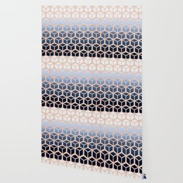 blue ombre with rose gold cube pattern Wallpaper