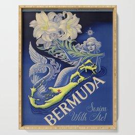 Vintage Mermaid Bermuda Serving Tray