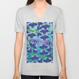 Abstract navy blue white teal watercolor floral Unisex V-Neck