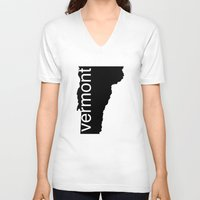 vermont V-neck T-shirts featuring Vermont by Isabel Moreno-Garcia
