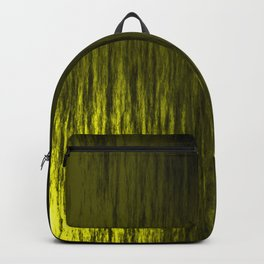 Bright texture of shiny foil of yellow flowing waves on a dark fabric. Backpack