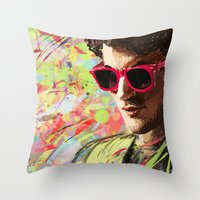 darren criss Throw Pillows featuring Colourful Darren Criss by Ines92