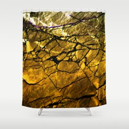 Gold Labradorite Crystal Shower Curtain
