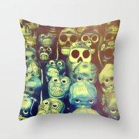 skulls Throw Pillows featuring skulls by Bunny Noir