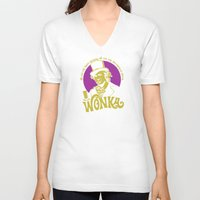 willy wonka V-neck T-shirts featuring Willy W quote v2 by Buby87