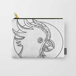 Cockatoo Head Circle Doodle Art Carry-All Pouch