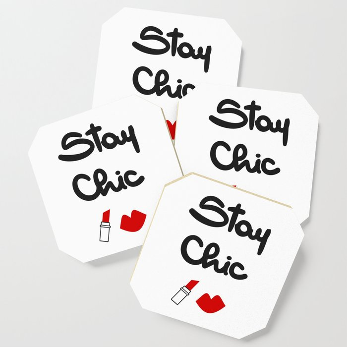 cute hand drawn lettering stay chic quote with red lips and lipstick  Coaster by alicevacca