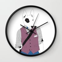 terrier Wall Clocks featuring Terrier by Nathalie Otter