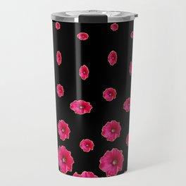 CERISE PINK HOLLYHOCKS  LOVERS BLACK PATTERNED ART Travel Mug