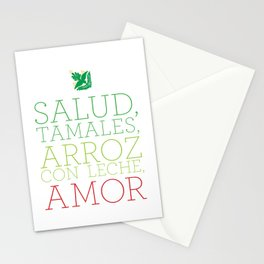 SALUD, TAMALES, ARROZ CON LECHE, AMOR Stationery Cards