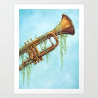 trumpet Art Prints featuring Trumpet by dangercat