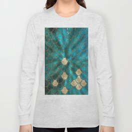 Multicolor Aqua And Gold Mermaid Scales -  Beautiful Abstract Pattern Long Sleeve T-shirt