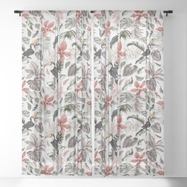 Toucans in the flowered jungle 6 Sheer Curtain