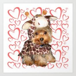 Dog Giraffe Costume | Yorkie with Hearts | Nadia Bonello Art Print