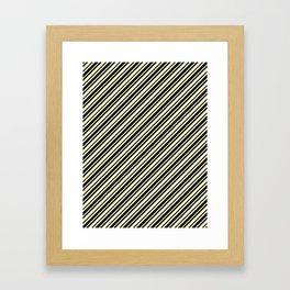 Cream Yellow and Black Diagonal RTL Var Size Stripes Framed Art Print