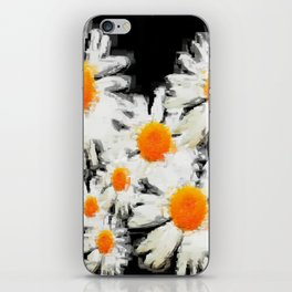 high contrast daisies pastel drawing iPhone Skin