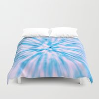 tie dye Duvet Covers featuring TIE DYE - LIGHT BLUE by Nika
