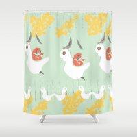 chicken Shower Curtains featuring chicken by Wyldbloom