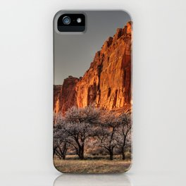 Capitol Reef - Apricot Trees and Red Rock Wall iPhone Case