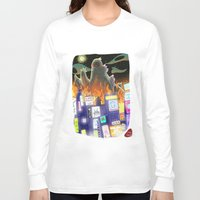 godzilla Long Sleeve T-shirts featuring Godzilla by David Pavon