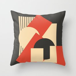 Geometrical abstract art deco mash-up scarlet beige Throw Pillow