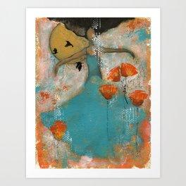 Floating. African American Art, Black Art, Women, Girls, Female Art Print