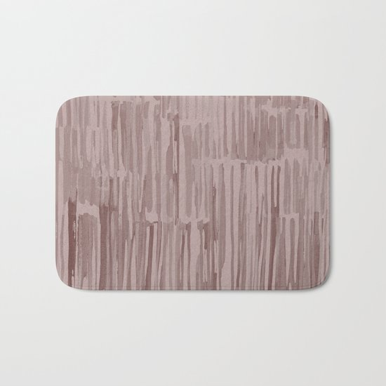 Simply Bamboo Brushstroke Red Earth on Clay Pink Bath Mat