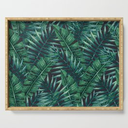 Palm and Banana Leaf Tropical Pattern Serving Tray