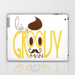 Typography Print Life is Groovy Man Hipster Eyeglasses Mustache Laptop & iPad Skin
