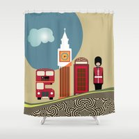 england Shower Curtains featuring London England by Lanre Studio