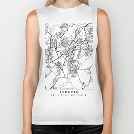 YEREVAN ARMENIA BLACK CITY STREET MAP ART Biker Tank
