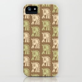 Mid Century Horse Pattern Brown Sage and Beige iPhone Case