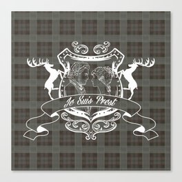 Outlander plaid with Je Suis Prest crest Canvas Print