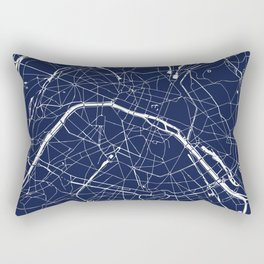 Paris France Minimal Street Map - Navy Blue and White Reverse Rectangular Pillow