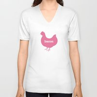 eggs V-neck T-shirts featuring Bacon/Eggs by Lian Ng