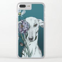 Greyhound Floro blue Clear iPhone Case