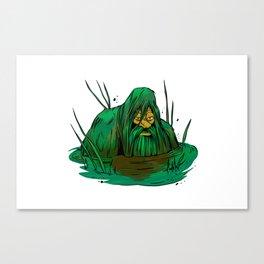 Bigfoot  creeping in swamp Canvas Print