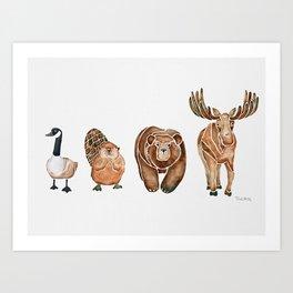 Canadian Crew | Woodland Animals Nursery Art Art Print