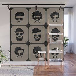 mustache, beard and hairstyle hipster Wall Mural