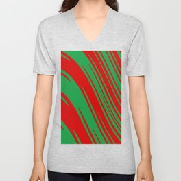 Candy Cane Christmas Red & Green Stripes Abstract Pattern Design Unisex V-Neck