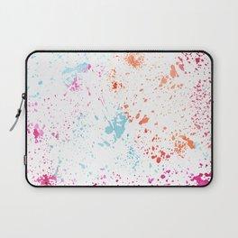 Hand painted pink teal orange watercolor paint splatters Laptop Sleeve