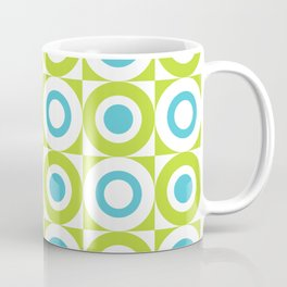 Mid Century Square and Circle Pattern 541 Turquoise and Chartreuse Coffee Mug