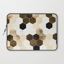 Honeycombs print, sepia colors hexagons with stone effect Laptop Sleeve