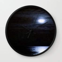 Moon Over Lake Michigan Wall Clock