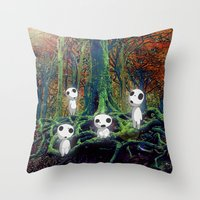 kodama Throw Pillows featuring Kodama under the tree by pkarnold + The Cult Print Shop
