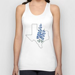 texas // watercolor bluebonnet state flower map Unisex Tank Top